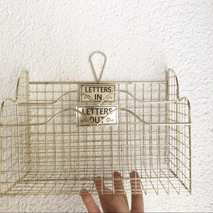 Other - Letters Mail Gold Metal Hanging Basket